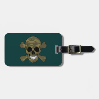 Camouflage Skull And Crossbones Luggage Tag