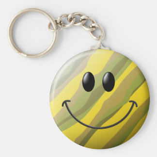 Camouflage Smiley Face Basic Round Button Keychain