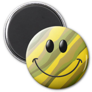 Camouflage Smiley Face 2 Inch Round Magnet