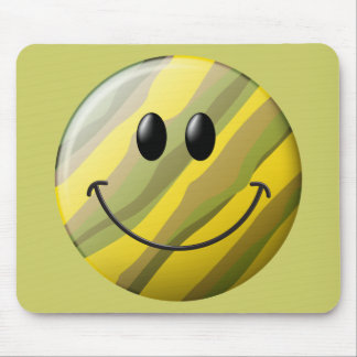 Camouflage Smiley Face Mouse Pad