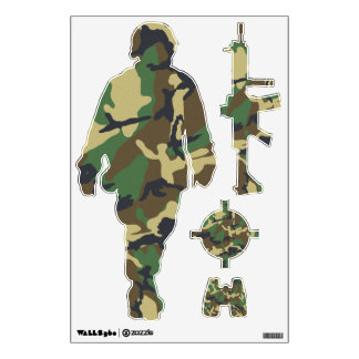 Camouflage Soldier and Weapons Stickers Room Graphics