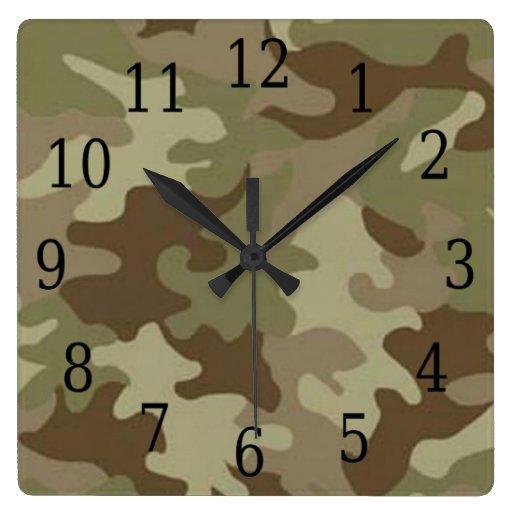 Camouflage Square Clock