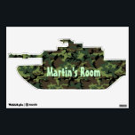 """Camouflage  Tank Custom Door Sign Wall Decal<br><div class=""""desc"""">Great looking boy&#39;s bedroom door sticker of a camouflage military tank silhouette.  Light green text,  across the middle of the sticker,  is ready to personalize for your little soldier&#39;s room.</div>"""