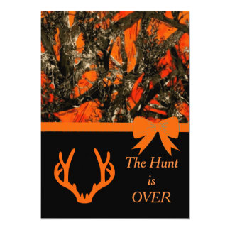Camouflage Wedding Invitation with deer horns.