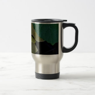 CAMOUFLAGE WITH LEAVES IN EARLY FALL TRAVEL MUG