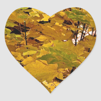 CAMOUFLAGE WITH LEAVES IN LATE FALL HEART STICKER