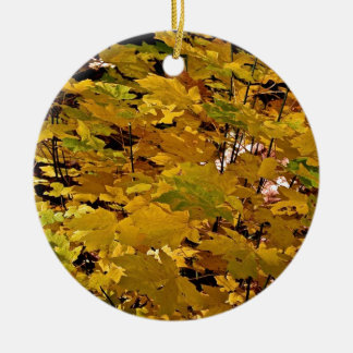 CAMOUFLAGE WITH LEAVES IN LATE FALL Double-Sided CERAMIC ROUND CHRISTMAS ORNAMENT