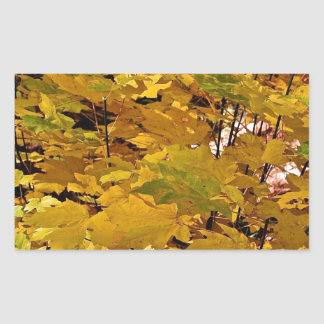 CAMOUFLAGE WITH LEAVES IN LATE FALL RECTANGULAR STICKER