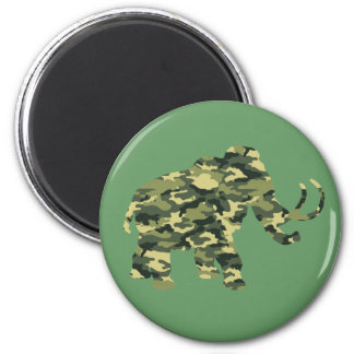 Camouflage Wolley Mammoth Silhouette 2 Inch Round Magnet