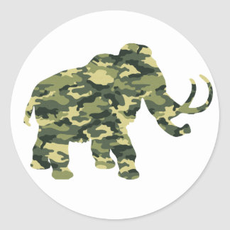 Camouflage Wolley Mammoth Silhouette Classic Round Sticker