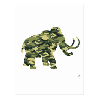 Camouflage Wolley Mammoth Silhouette Postcard