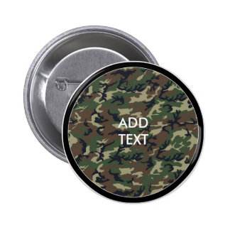 Camouflage Woodland Pinback Buttons