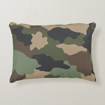 Camouflage Woodland Camo Khaki Green Tan Black Accent Pillow