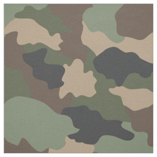 Camouflage Woodland Camo Khaki Green Tan Black Fabric