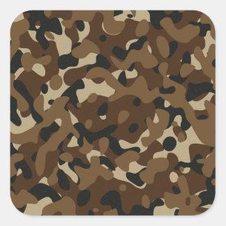 Camouflage Woodland Forest (Black, Brown, Beige) Square Sticker