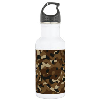 Camouflage Woodland Forest (Black, Brown, Beige) Water Bottle