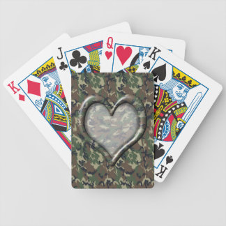 Camouflage Woodland Forest Heart on Camo Bicycle Playing Cards