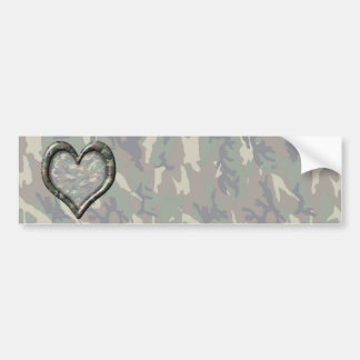 Camouflage Woodland Forest Heart on Camo Car Bumper Sticker