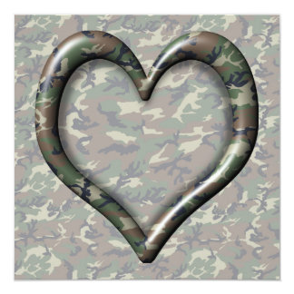 Camouflage Woodland Forest Heart on Camo Card