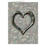 Camouflage Woodland Forest Heart on Camo Greeting Card