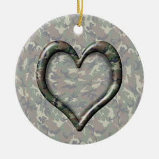 Camouflage Woodland Forest Heart on Camo Ceramic Ornament