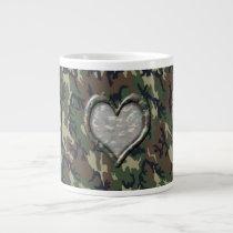 Camouflage Woodland Forest Heart on Camo Giant Coffee Mug