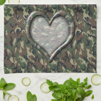 Camouflage Woodland Forest Heart on Camo Hand Towels