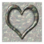 """Camouflage Woodland Forest Heart on Camo 5.25"""" Square Invitation Card"""