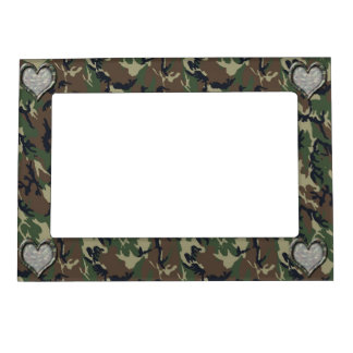 Camouflage Woodland Forest Heart on Camo Magnetic Photo Frame