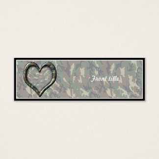Camouflage Woodland Forest Heart on Camo Mini Business Card