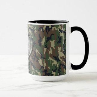 Camouflage Woodland Forest Heart on Camo Mug