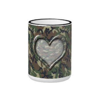 Camouflage Woodland Forest Heart on Camo Mugs