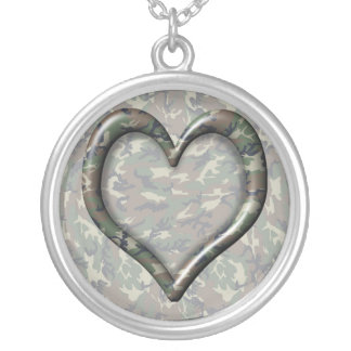 Camouflage Woodland Forest Heart on Camo Custom Necklace