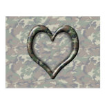 Camouflage Woodland Forest Heart on Camo Postcard
