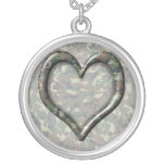 Camouflage Woodland Forest Heart on Camo Round Pendant Necklace