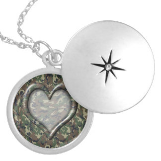 Camouflage Woodland Forest Heart on Camo Silver Plated Necklace