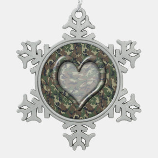 Camouflage Woodland Forest Heart on Camo Snowflake Pewter Christmas Ornament
