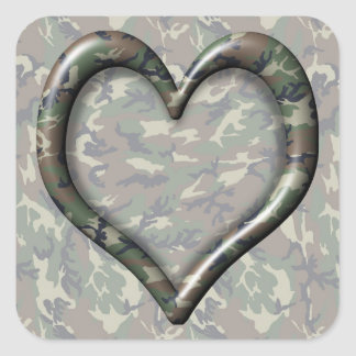 Camouflage Woodland Forest Heart on Camo Square Sticker