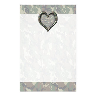 Camouflage Woodland Forest Heart on Camo Stationery
