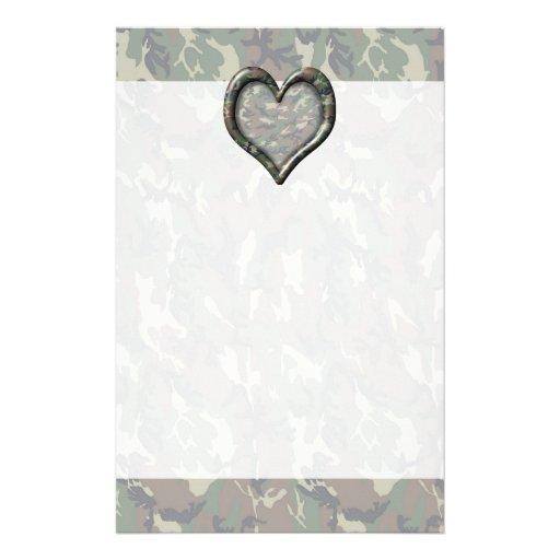 Camouflage Woodland Forest Heart on Camo Custom Stationery