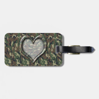 Camouflage Woodland Forest Heart on Camo Tag For Luggage