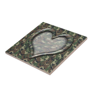 Camouflage Woodland Forest Heart on Camo Tile