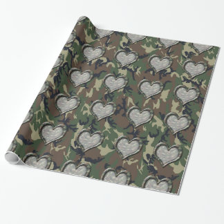 Camouflage Woodland Forest Heart on Camo Wrapping Paper