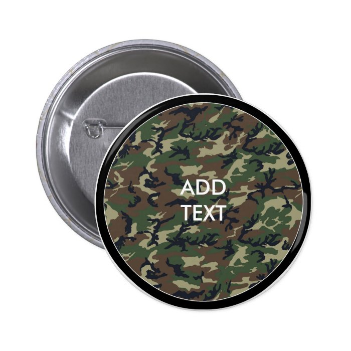 Camouflage Woodland Pinback Button
