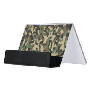 Woodland camouflage business card holders cases zazzle camouflage woodlands desk business card holder reheart Images