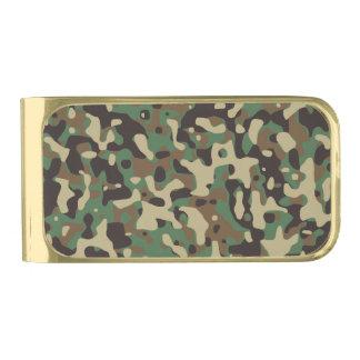 Camouflage Woodlands Gold Finish Money Clip