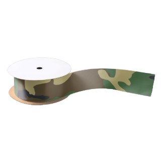 Camouflaged green and brown military blank ribbon