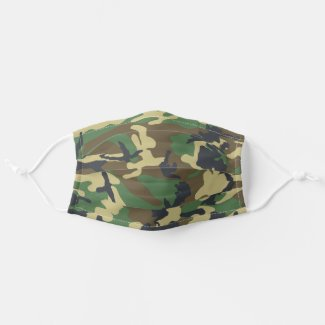 Camouflaged Green and Brown Pattern Urban Cloth Face Mask