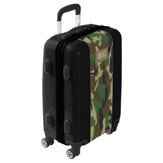 Camouflaged Green Monogrammed Personalized Luggage