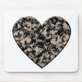 Camouflaged Heart Mouse Pad